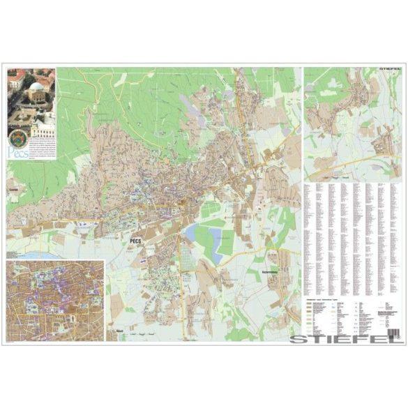 Pécs város térképe, falitérkép