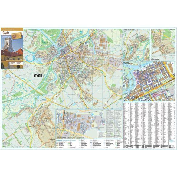 Győr város térképe, falitérkép