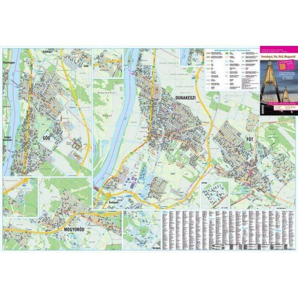 Dunakeszi, Göd, Fót, Mogyoród térképe, falitérkép