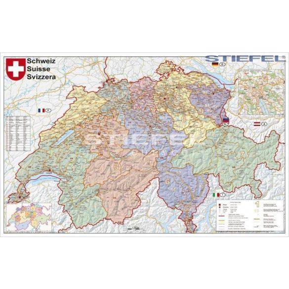 Svájc irányítószámos falitérkép