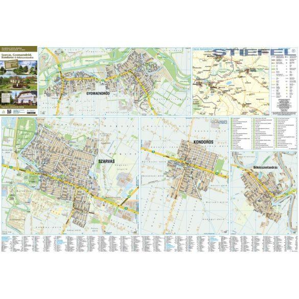 Szarvas, Gyomaendrőd, Kondoros és Békésszentandrás térképe, falitérkép