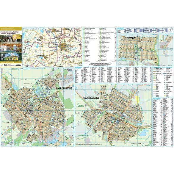 Balmazújváros-Hajdúszoboszló-Nagyhegyes térképe, falitérkép