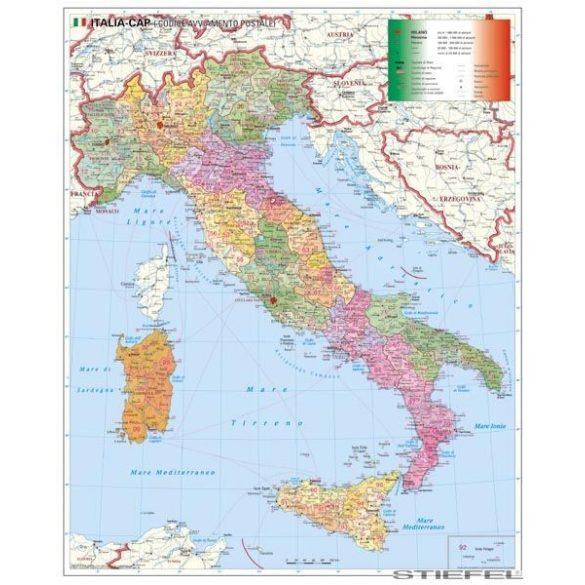 Olaszország irányítószámos falitérkép