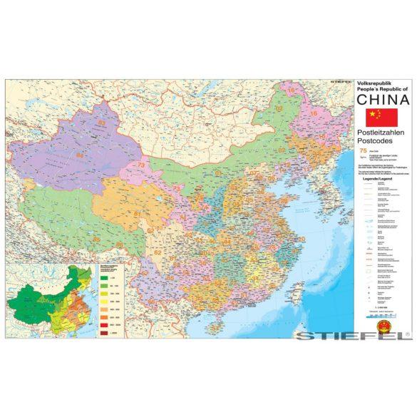 Kína irányítószámos falitérkép