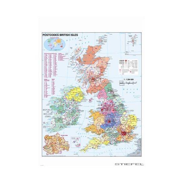 Nagy-Britannia irányítószámos falitérkép