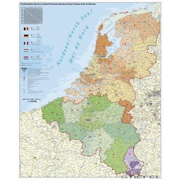 Benelux államok irányítószámos falitérkép