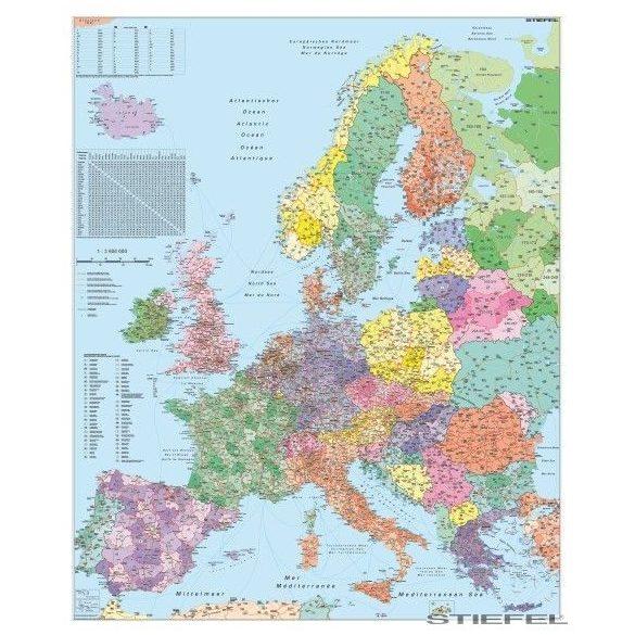 Európa irányítószámos falitérkép (nemzetközi)
