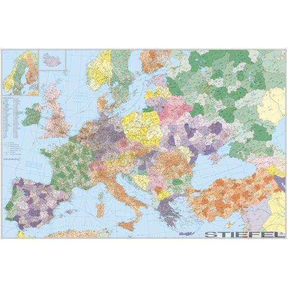 Európa+Törökország posta-irányítószámos falitérkép