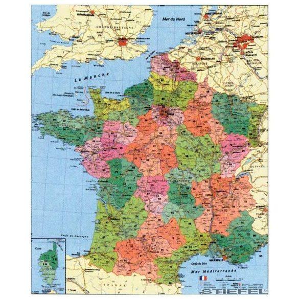 Franciaország megyéi és postai irányítószámos falitérkép, mágnesezhető, fémkerettel