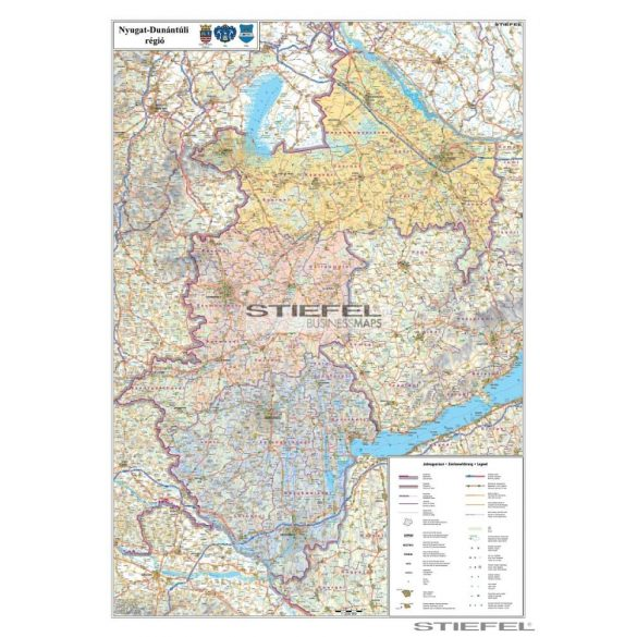 A Nyugat-Dunántúl régió járásainak falitérkép