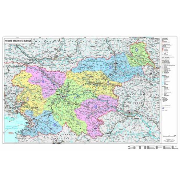 Szlovénia irányítószámos falitérkép
