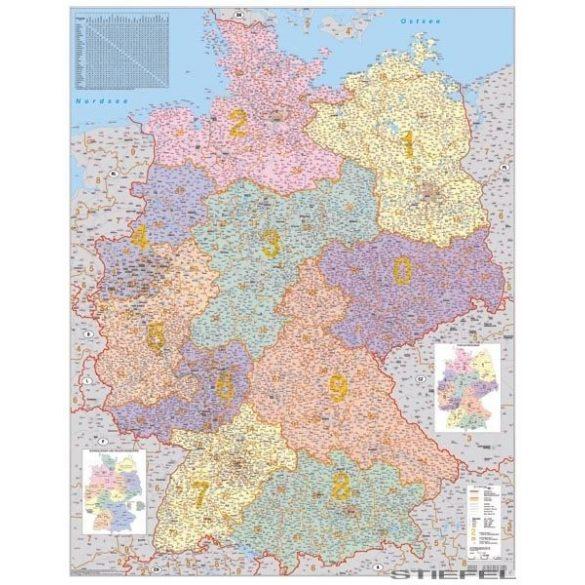 Németország irányítószámos falitérkép