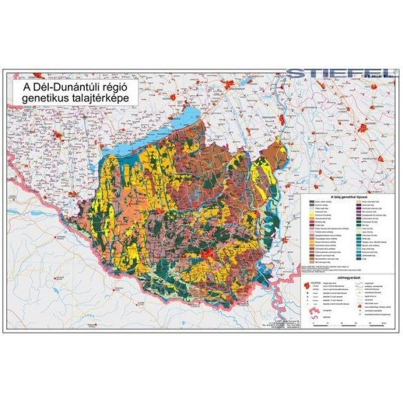 Dél-Dunántúli régió genetikus talajtérképe, falitérkép