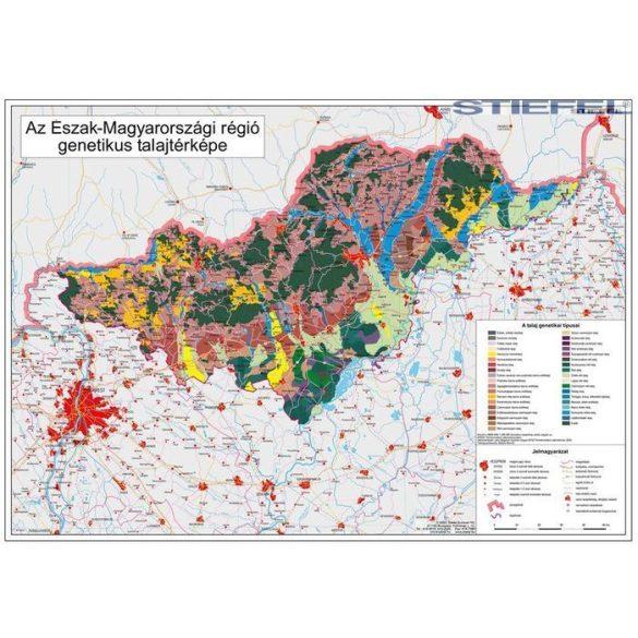 Észak-Magyarország régió genetikus talajtérképe, falitérkép