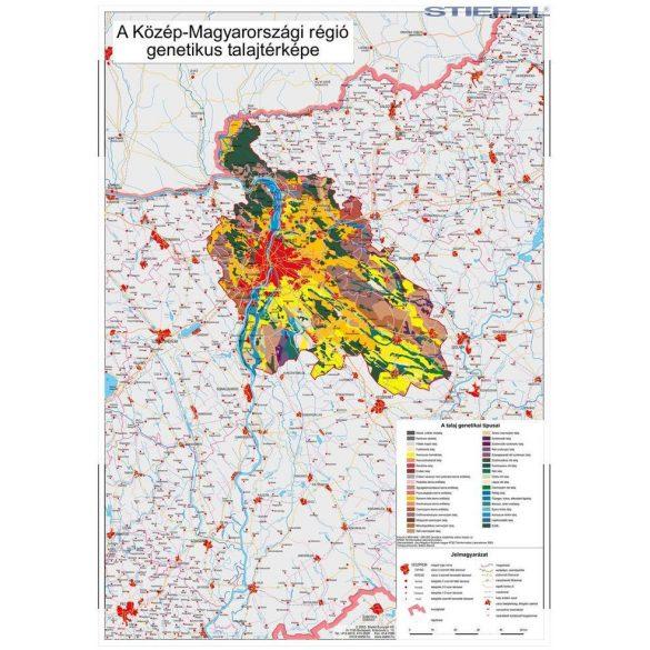 Közép-Magyarországi régió genetikus talajtani térképe, falitérkép