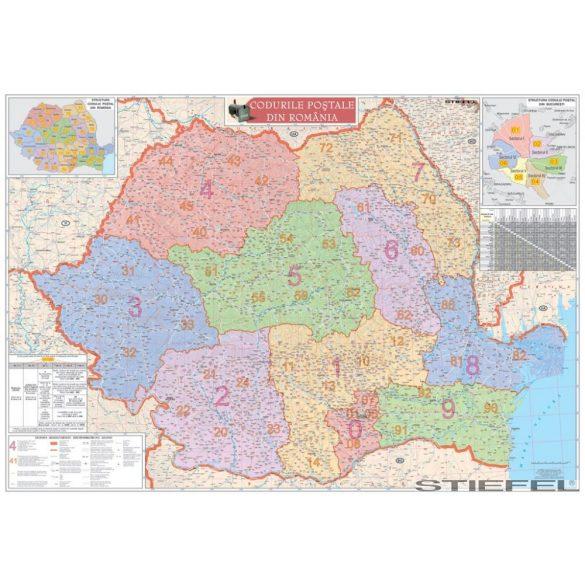 Románia irányítószámos falitérkép
