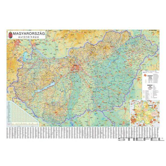 Magyarország autótérképe, falitérkép