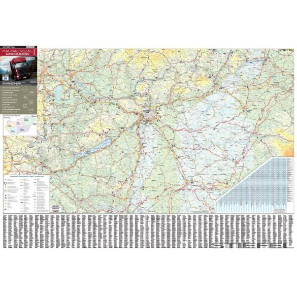 Magyarország kamionos térképe, falitérkép (2015)