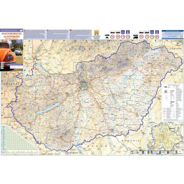 Magyarország autótérképe a járáshatárokkal, falitérkép