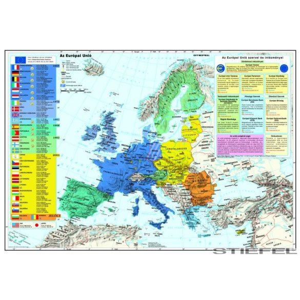 Az Európai Unió (a tagok és tagjelöltek zászlóival) falitérkép