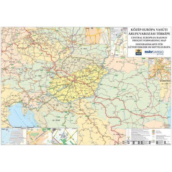 Közép-Európa vasúti térképe, falitérkép