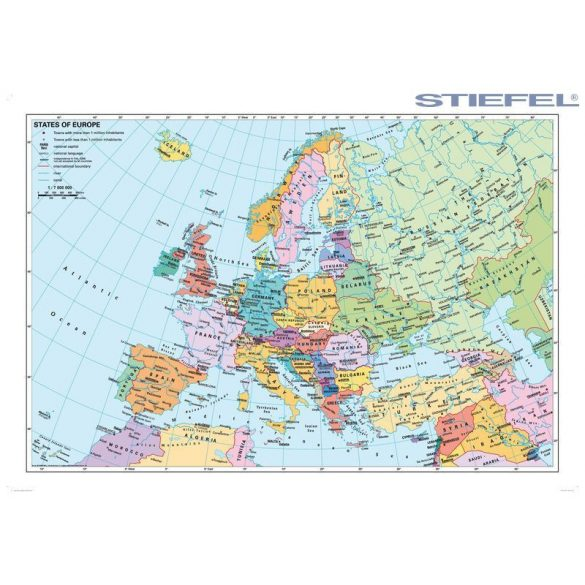 Európa országai angol nyelvű térképe, falitérkép