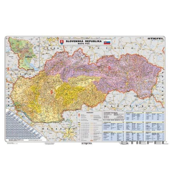 Szlovákia irányítószámos falitérkép