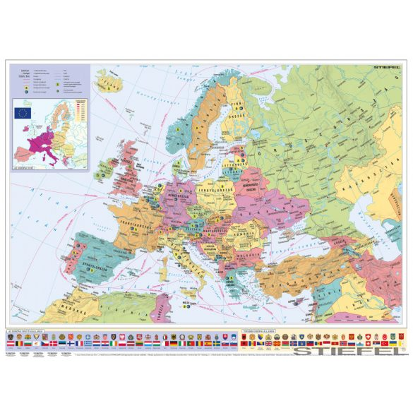 Európa országai és az Európai Unió falitérkép