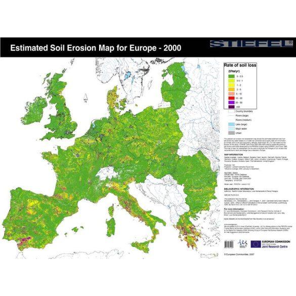 Európai Unió talajeróziós térképe angol nyelven, falitérkép