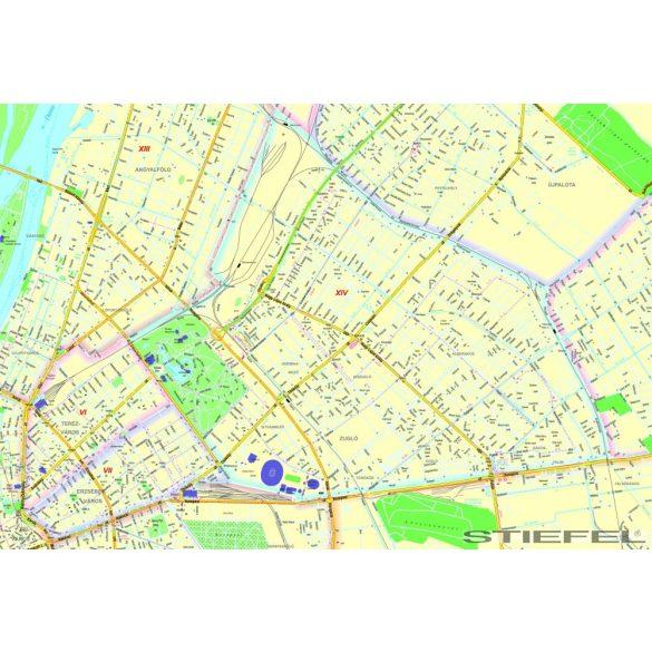 Budapest XIV. Kerület térképe, falitérkép