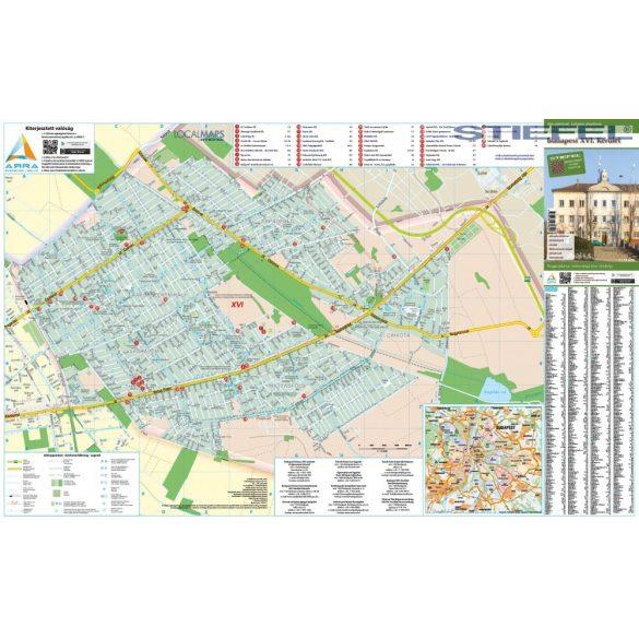 Budapest XVI. Kerület térképe, falitérkép
