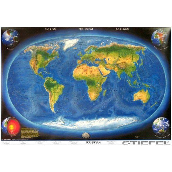 A Föld panorámafalitérkép a tengerfenék domborzatával falitérkép