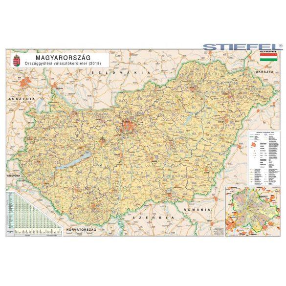 Magyarország országgyűlési választókerületei (2018) falitérkép