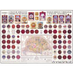 A Magyar Királyság szabad királyi városainak címerei és pecsétje falitérkép