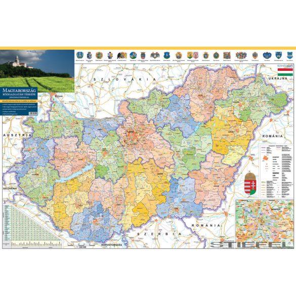 Magyarország közigazgatási térképe, falitérkép a járásokkal