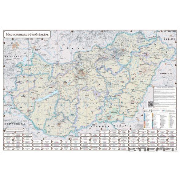 Magyarország Fürdő térképe, falitérkép