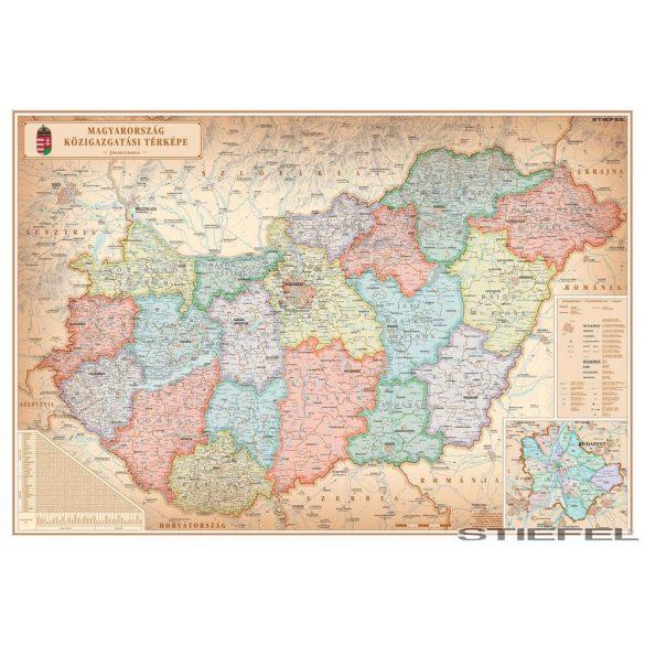 Magyarország közigazgatási különleges színezésű falitérképe