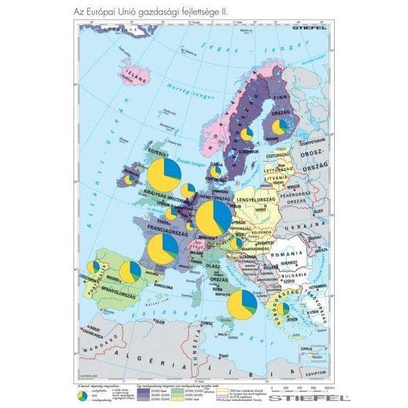 Az EU tagállamainak és társult országainak gazd.-i fejlettségi különbségei falitérkép