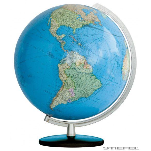 COLUMBUS DUO világítós  asztali, akril földgömb, fényes fekete fa talppal, rozsdamentes acél színezésű meridiánnal Ø 30  cm