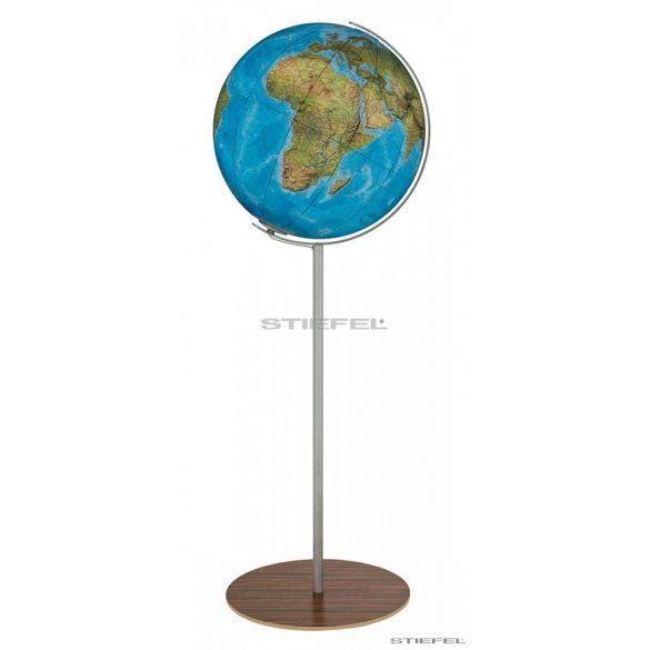 COLUMBUS DUO világítós, álló, akril földgömb, fa és rozsdamentes acél alappal és meridiánnal Ø 40  cm