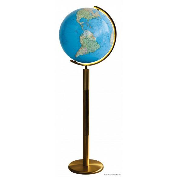 COLUMBUS DUO világítós, álló, kristályüveg földgömb, sárgaréz alappal és meridiánnal Ø 40  cm