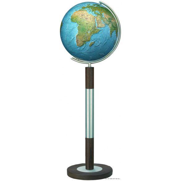 COLUMBUS DUORAMA világítós, álló, kristályüveg földgömb, tölgyfa alappal, rozsdamentes acél meridiánnal Ø 40  cm