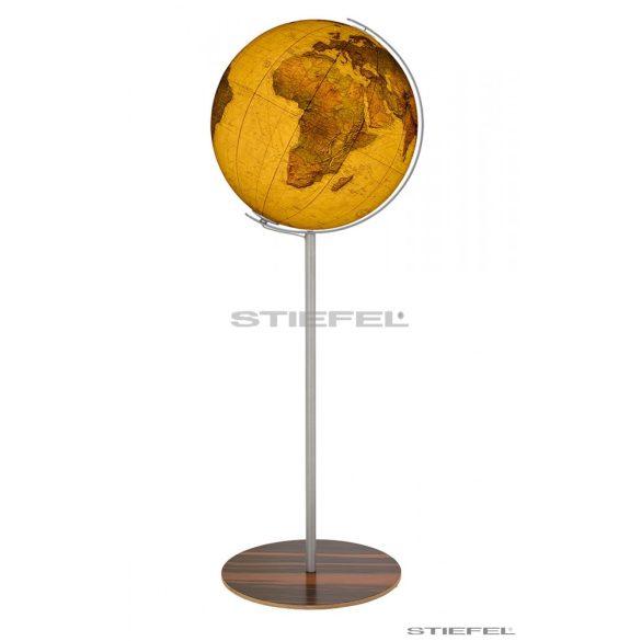 COLUMBUS ROYAL világítós, álló, akril földgömb, rozsdamentes acél és fa alappal, rozsdamentes acél meridiánnal Ø 40  cm