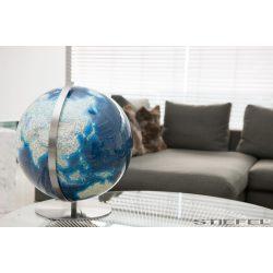 COLUMBUS DUO AZZURRO  világítós, akril földgömb, rozsdamentes acél alappal és meridiánnal Ø 40  cm