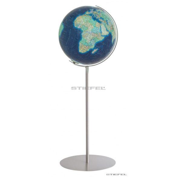 COLUMBUS DUO AZZURRO világítós, álló, akril földgömb, rozsdamentes acél talppal és meridiánnal Ø 40  cm