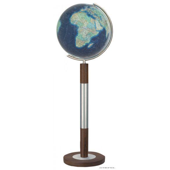 COLUMBUS DUO AZZURRO világítós, álló, kristályüveg földgömb, fa+rozsdamentes acél talppal és meridiánnal Ø 40  cm