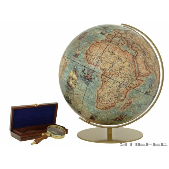 COLUMBUS IMPERIAL világítós, asztali, akril földgömb, sárgaréz talppal és meridiánnal Ø 40  cm