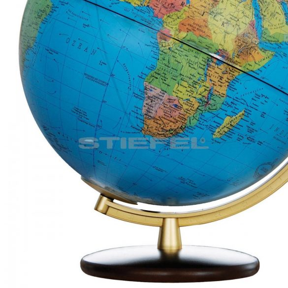 COLUMBUS DUPLEX világítós, asztali, akril, DUO földgömb, diófa talppal és sárgaréz színű meridiánnal Ø 30  cm