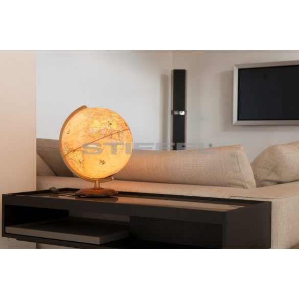 COLUMBUS RENAISSANCE világítós, asztali, akril, antik DUO földgömb, diófa talppal, sárgaréz színű meridiánnal Ø 30  cm