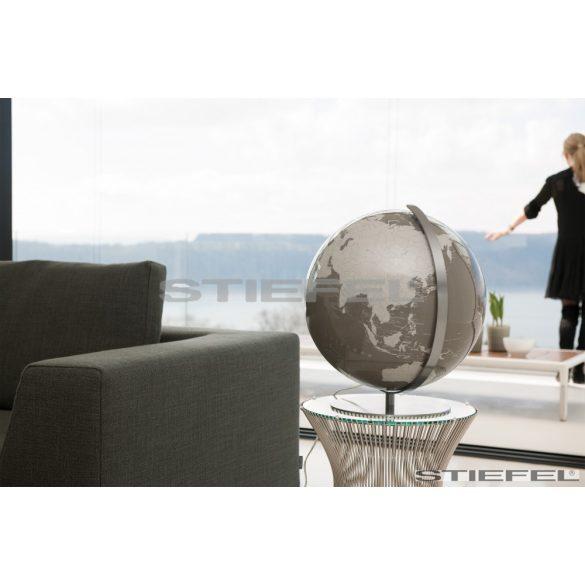 ARTLINE szürke vagy egyedi színű, világítós, asztali, akril földgömb, rozsdamentes acél talppal és meridiánnal Ø 40  cm